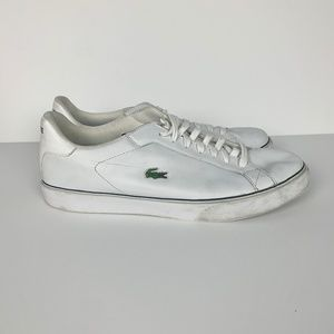 White Leather Lacoste Sneakers Size 13 Mens